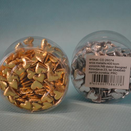 Satenska srca zlatna i srebrna 400 komada