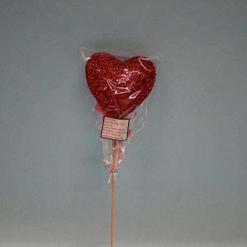 Srce pik gliter 12cm dekoracija